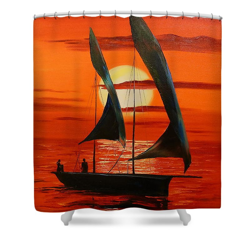 Sunset Shower Curtain featuring the painting Sunset by Olha Darchuk