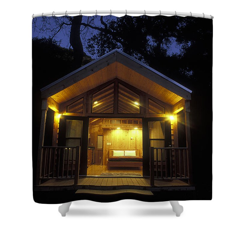 Porches Shower Curtain featuring the photograph Sunset On A Cabin At El Capitan Canyon by Rich Reid