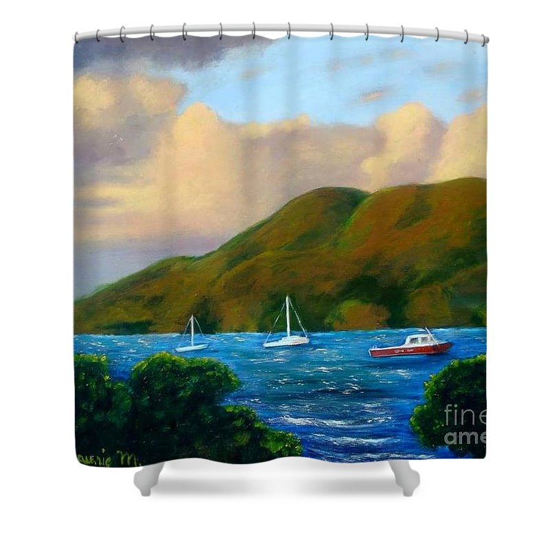 Sunset Shower Curtain featuring the painting Sunset On Cruz Bay by Laurie Morgan