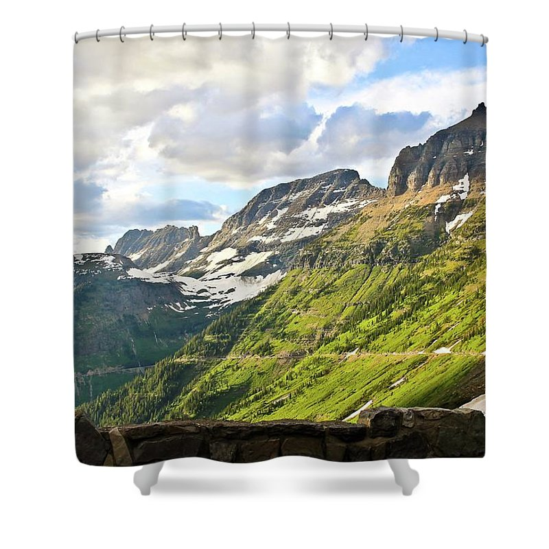 Going To The Sun Road Shower Curtain featuring the photograph Sunset On Going To The Sun Road by Rebecca Wineka