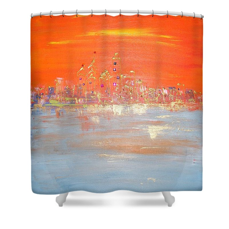 Shower Curtain featuring the painting Sunset On Ice by Lilliana Didovic