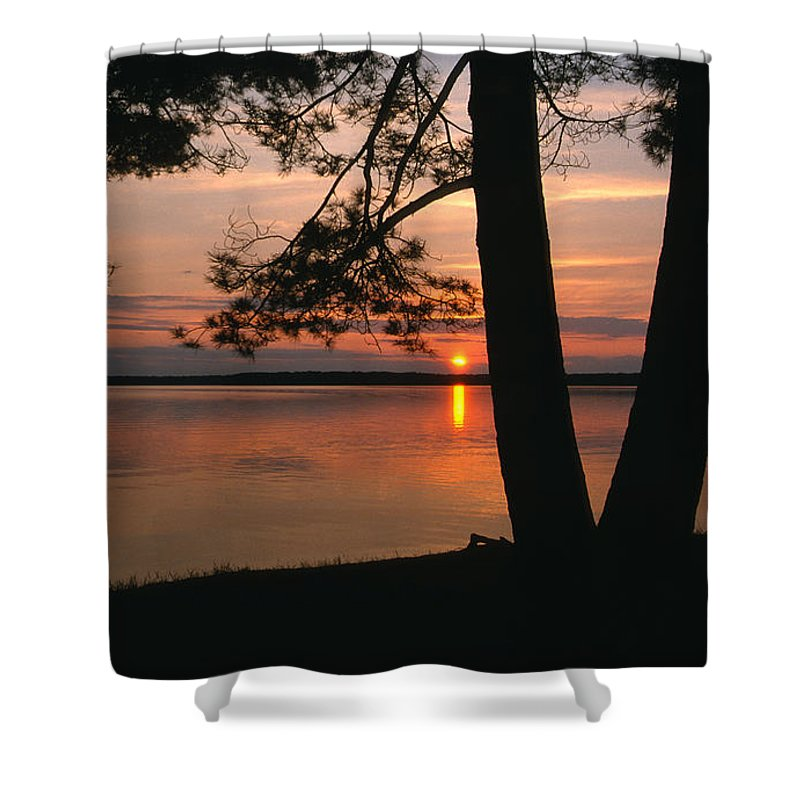 Door County Shower Curtain featuring the photograph Sunset On Sister Bay by Sandra Bronstein