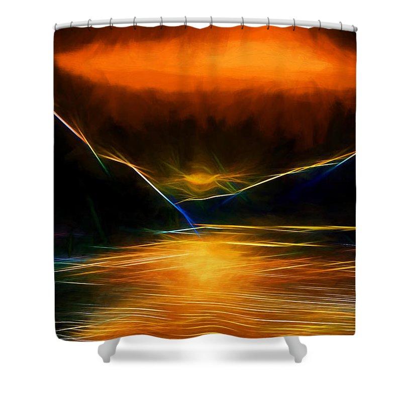 Alaska Shower Curtain featuring the digital art Sunset On The Bay by John Haldane