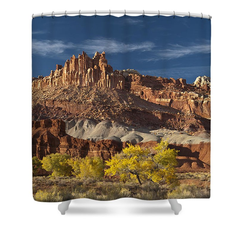 Capitol Reef Shower Curtain featuring the photograph Sunset On The Castle by Sandra Bronstein