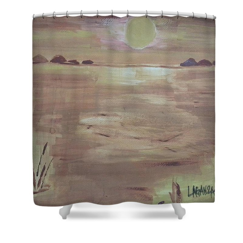 Sunset Shower Curtain featuring the painting Sunset On The Desert by Marialyn Laganza