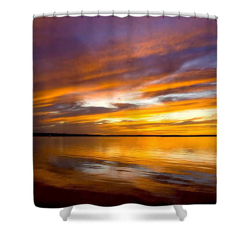 Sunset Shower Curtain featuring the photograph Sunset On The Harbor by Charles Harden