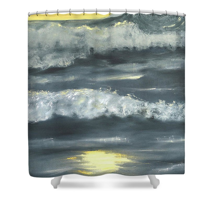Seascape Shower Curtain featuring the painting Sunset On The Island by Vera Persiyanova