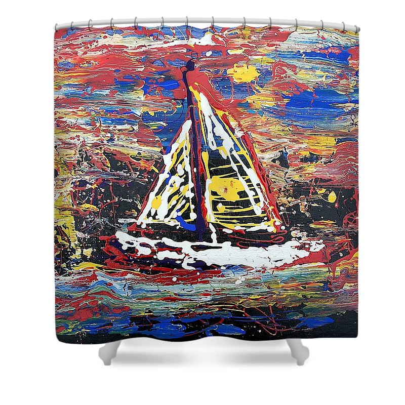 Sailboat Shower Curtain featuring the painting Sunset On The Lake by J R Seymour