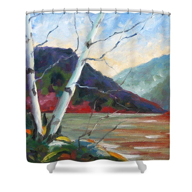 Landscape; Landscapes/scenic; Birches;sun;lake;pranke Shower Curtain featuring the painting Sunset On The Lake by Richard T Pranke