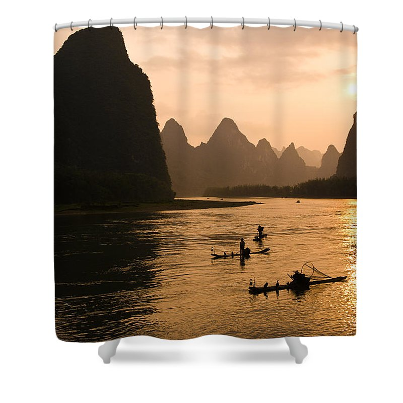 Asia Shower Curtain featuring the photograph Sunset on the Li River by Michele Burgess