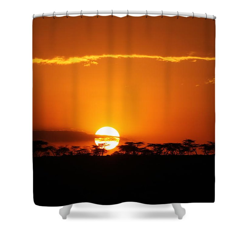 Sunset Shower Curtain featuring the photograph Sunset On The Mara by Mauverneen Blevins