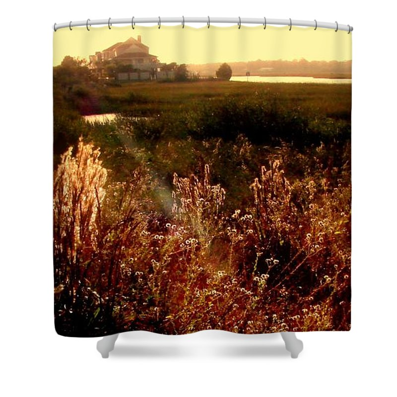 Marsh Shower Curtain featuring the photograph Sunset On The Marsh by Patricia L Davidson