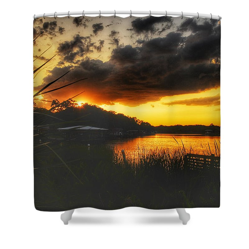 Sunset Shower Curtain featuring the photograph Sunset On The River by Allen Williamson