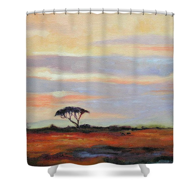Landscape Shower Curtain featuring the painting Sunset On The Serengheti by Ginger Concepcion