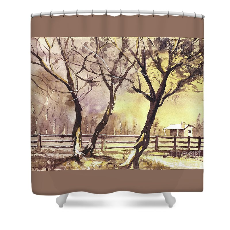 Art For House Shower Curtain featuring the painting Sunset Over Barn by Ryan Fox