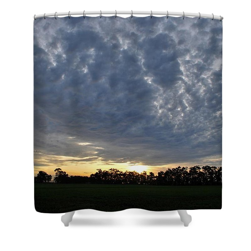 Tree Shower Curtain featuring the photograph Sunset Over Farm And Trees - Distant View by Matt Harang