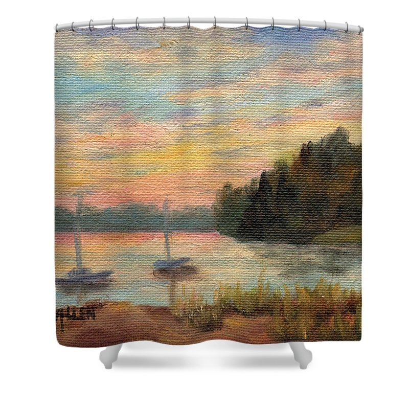 Sunset Shower Curtain featuring the painting Sunset Over Massabessic by Sharon E Allen