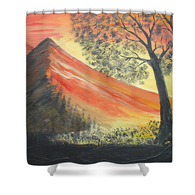 Sunset Shower Curtain featuring the painting Sunset Over Mountains by Daniel Nadeau