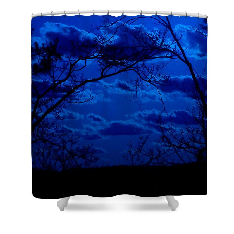 Night Shower Curtain featuring the photograph sunset over Suwanee 2009 by David Campbell