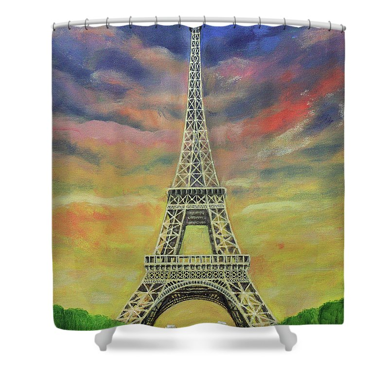 Eiffel Tower Shower Curtain Featuring The Painting Sunset Over