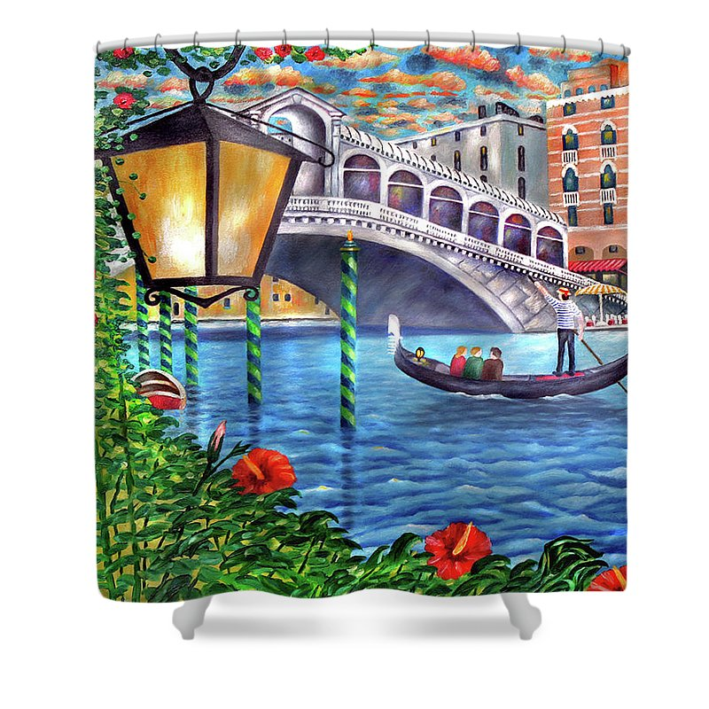 Italy Shower Curtain featuring the painting Sunset Over The Grand Canal - Venice by Ronald Haber