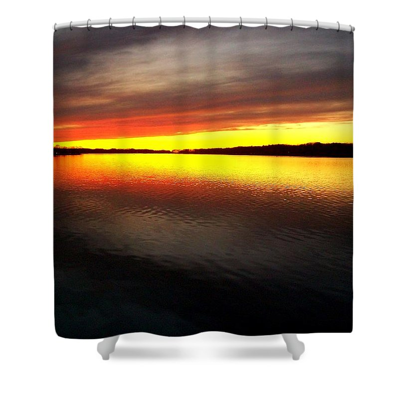 Gold Shower Curtain featuring the photograph Sunset Over The Lake by Michelle Calkins