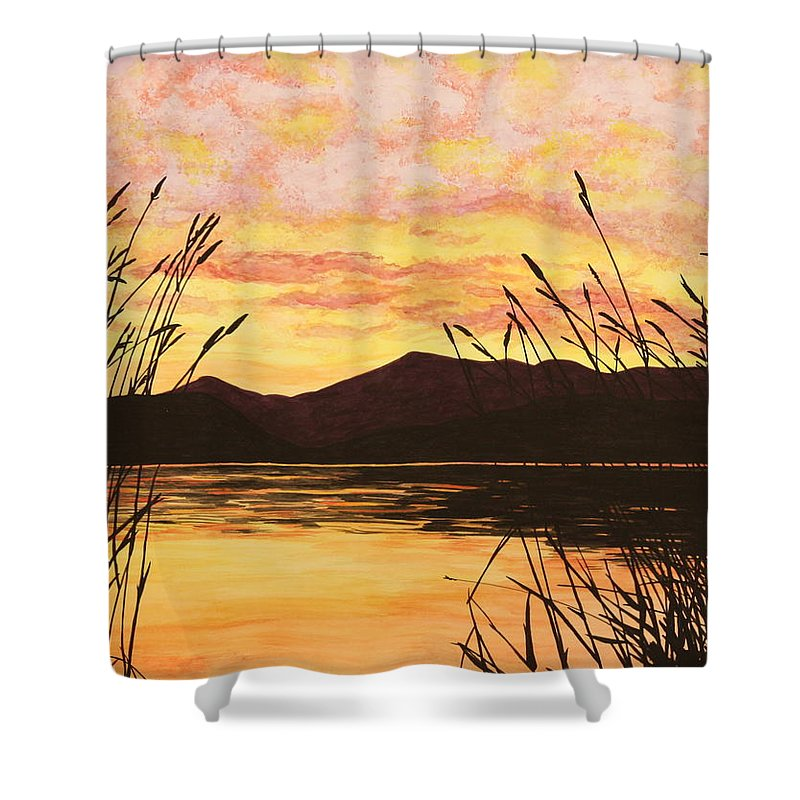 Sunset Shower Curtain featuring the painting Sunset Over The Water by Michelle Miron-Rebbe