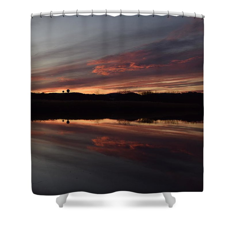 Sunset Over The Marshlands Of Haverstraw Shower Curtain featuring the pyrography Sunset by Owen Cramsie