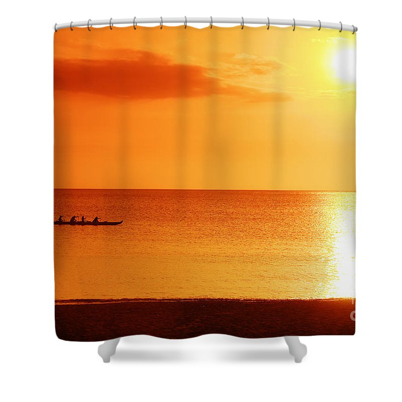 Boat Shower Curtain featuring the photograph Sunset Paddle by Vince Cavataio - Printscapes