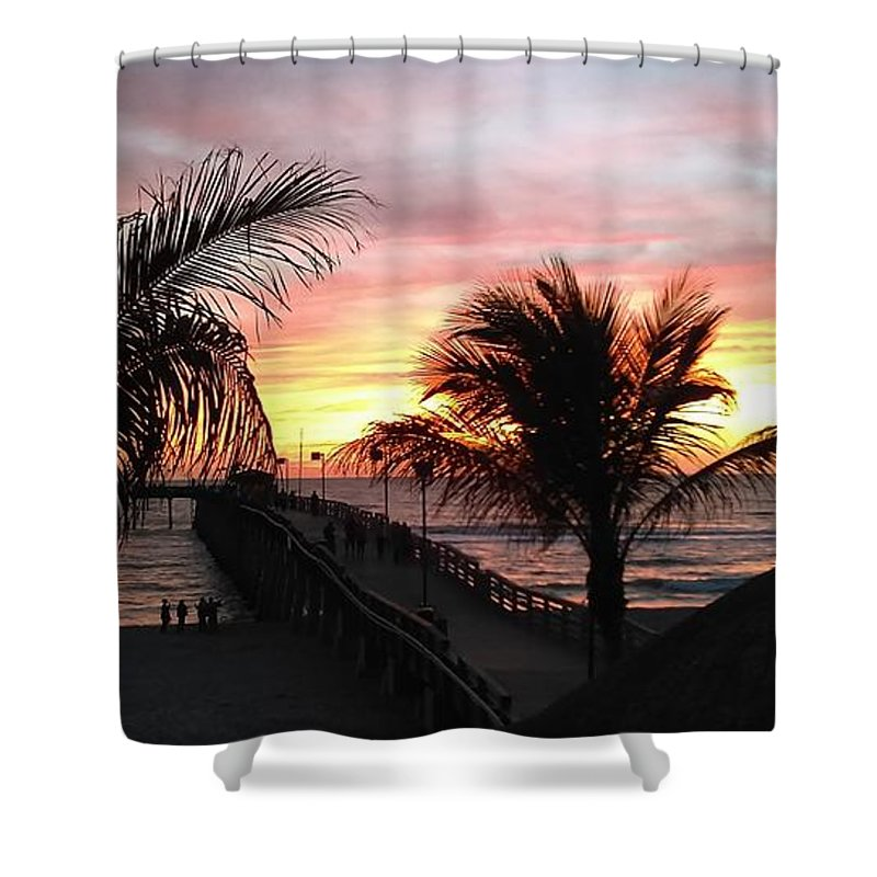 Sunset Shower Curtain featuring the photograph Sunset Palms At Sharky's On The Pier by Jynjer Jones