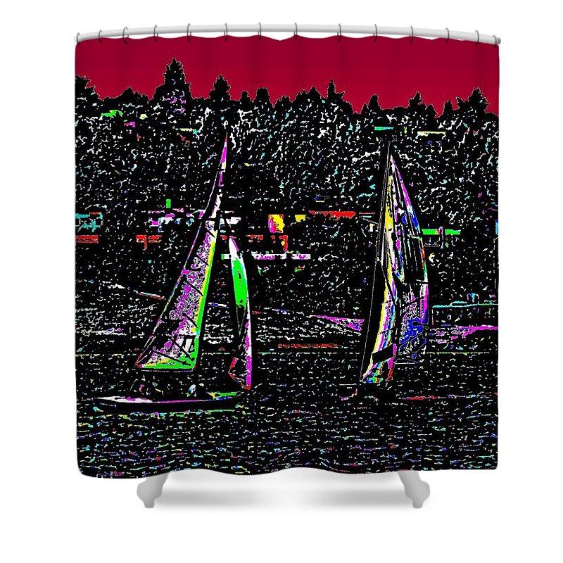 Sail Shower Curtain featuring the digital art Sunset Regatta by Tim Allen