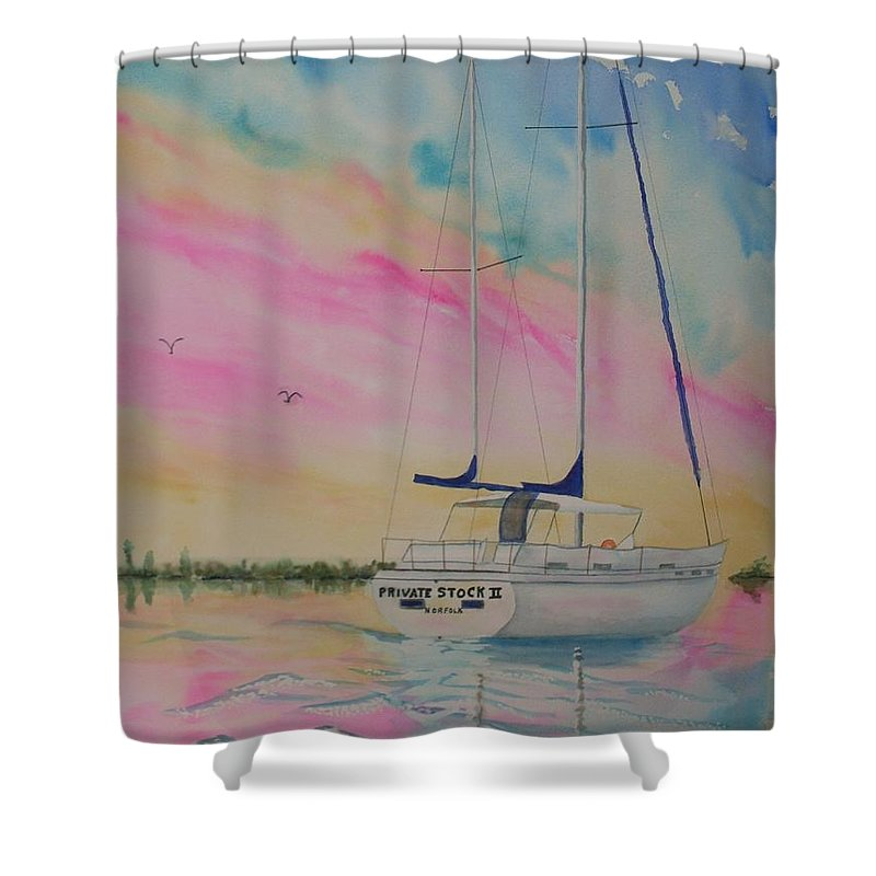 Sunset Sail 3 Shower Curtain featuring the painting Sunset Sail 3 by Warren Thompson
