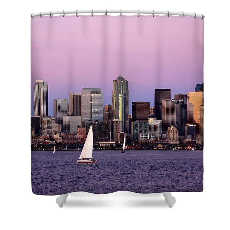3scape Photos Shower Curtain featuring the photograph Sunset Sail In Puget Sound by Adam Romanowicz