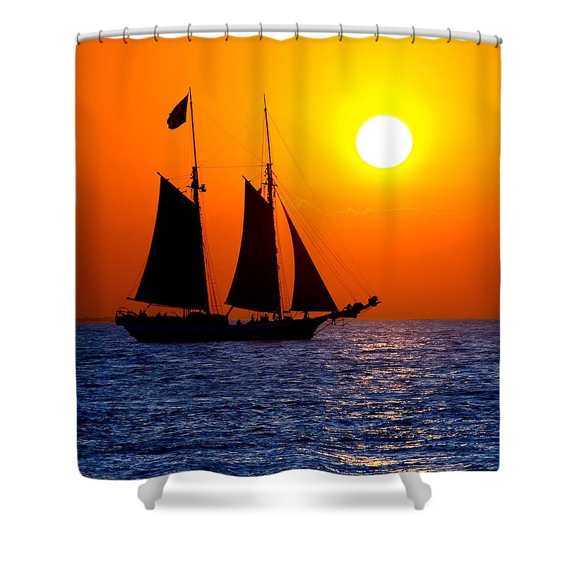 Yellow Shower Curtain featuring the photograph Sunset Sailing In Key West Florida by Michael Bessler