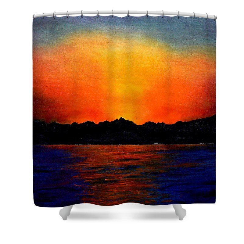 Sinai Sunset Shower Curtain featuring the painting Sunset Sinai by Helmut Rottler