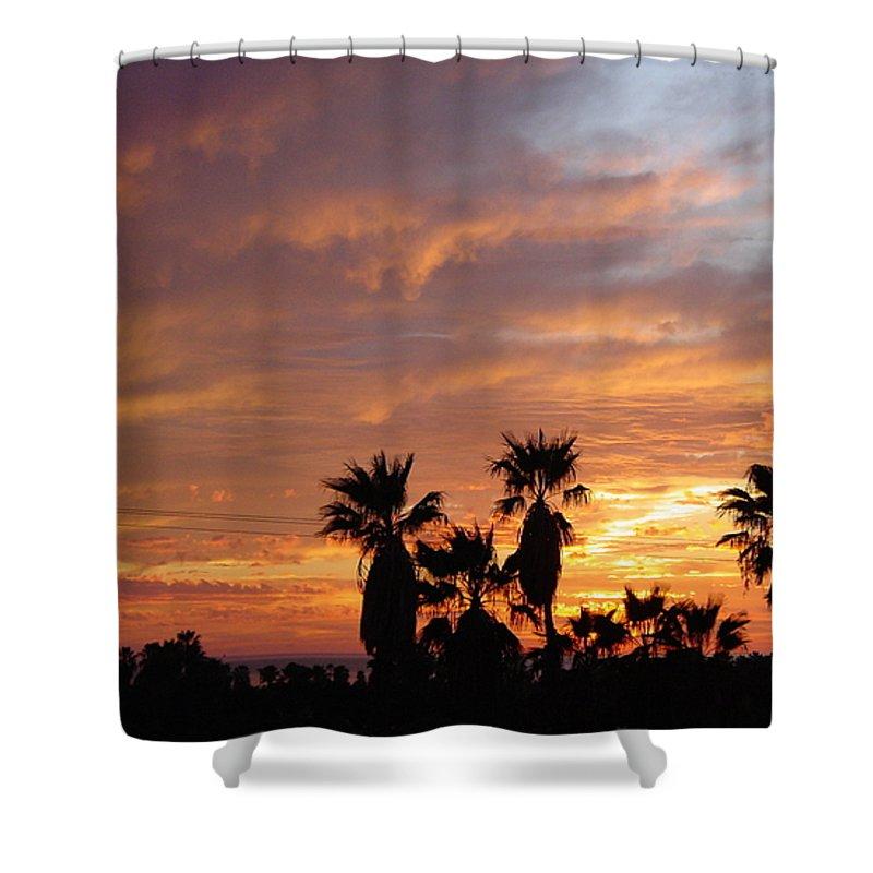 Sunset Shower Curtain featuring the photograph Sunset Sky Over Baja by Leonard Sharp