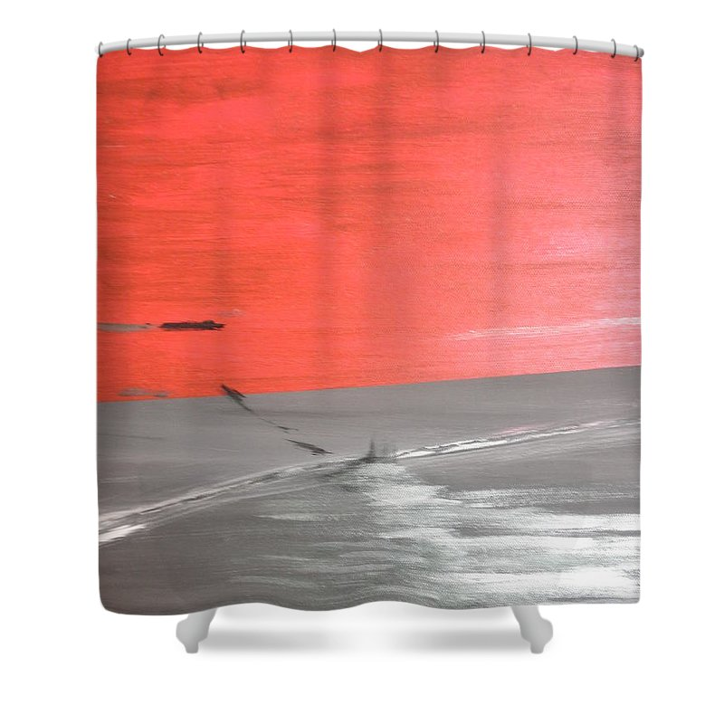 Red Shower Curtain featuring the painting Sunset by Solenn Carriou