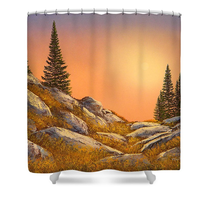 Mountains Shower Curtain featuring the painting Sunset Spruces by Frank Wilson