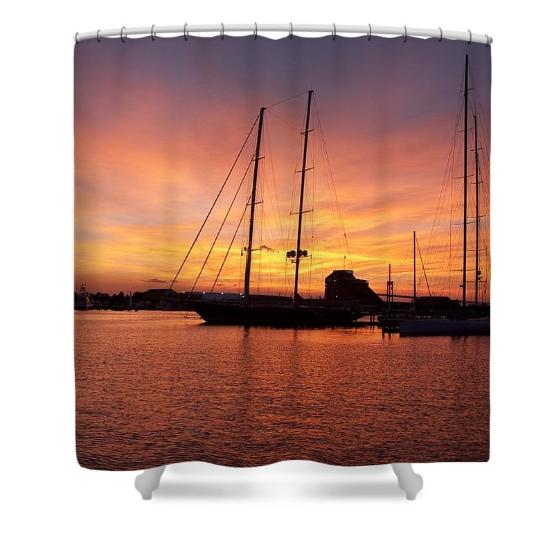 Sunset Shower Curtain featuring the photograph Sunset Tall Ships by Steven Natanson
