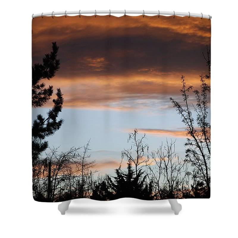 Sunset Shower Curtain featuring the photograph Sunset Thru The Trees by Rob Hans