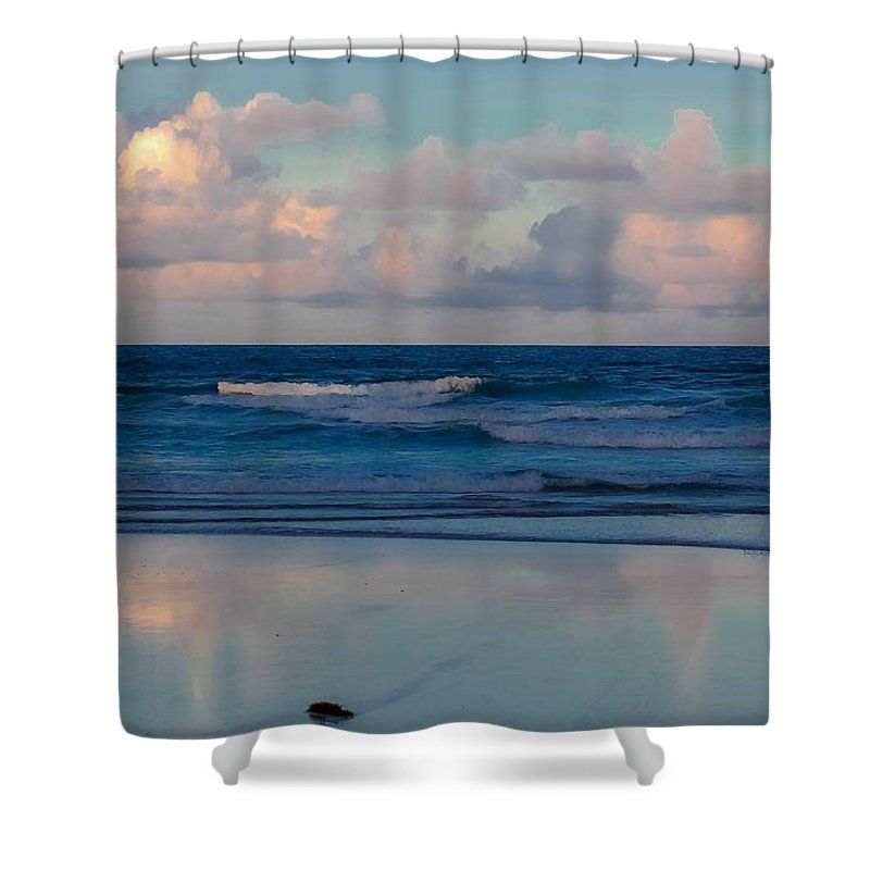 Ocean Shower Curtain featuring the digital art Sunset Tides by DigiArt Diaries by Vicky B Fuller