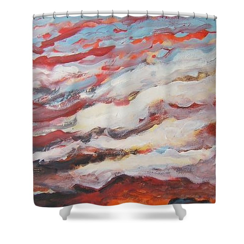 Sunset Shower Curtain featuring the pastel Sunset by Todd Artist