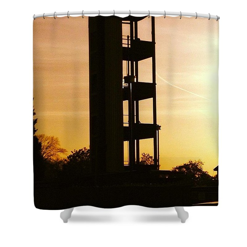 Sunsets Shower Curtain featuring the photograph Sunset Tower by Steve Swindells