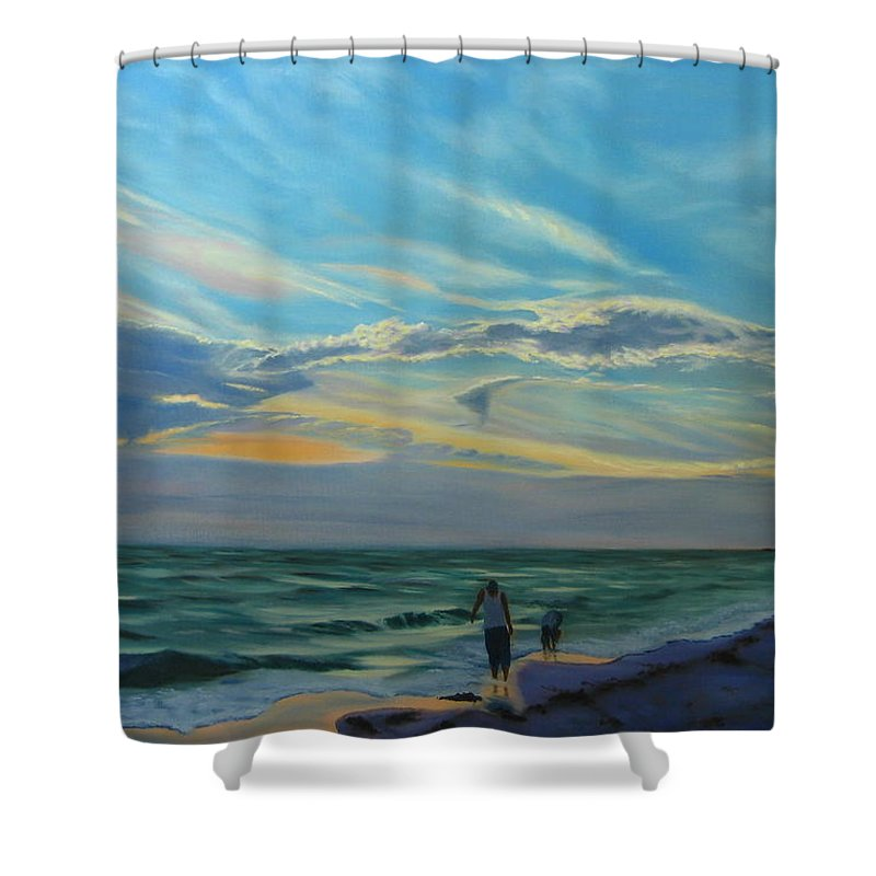 Seascape Shower Curtain featuring the painting Sunset Treasure Hunt by Lea Novak