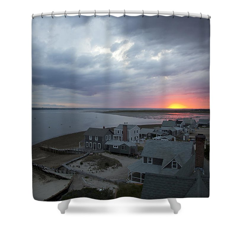 Sunset Shower Curtain featuring the photograph Sunset View From Sandy Neck Light by Charles Harden