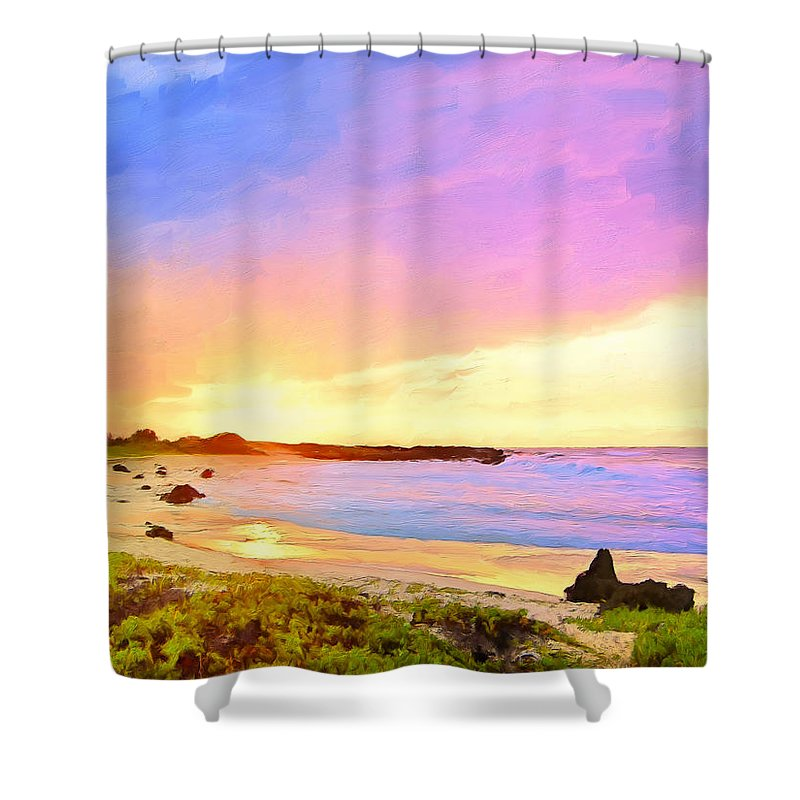 Sunset Shower Curtain featuring the painting Sunset Walk by Dominic Piperata