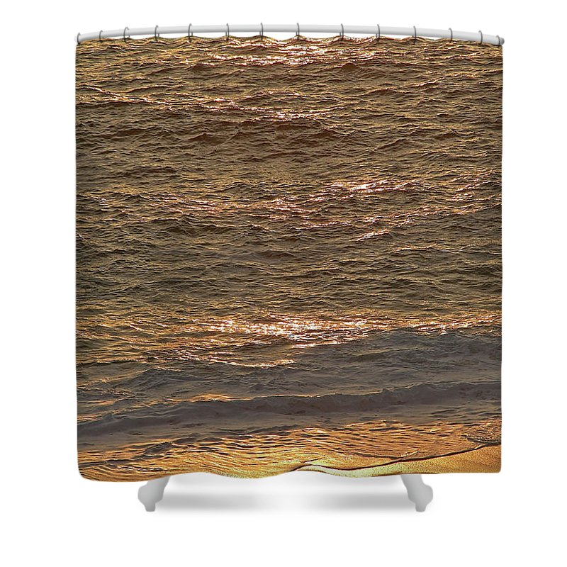 Golden Shower Curtain featuring the photograph Sunset Waves Over Carmel Beach by Charlene Mitchell