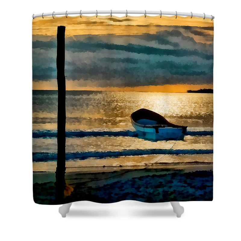 Sunset Shower Curtain featuring the photograph Sunset With Boat by Galeria Trompiz