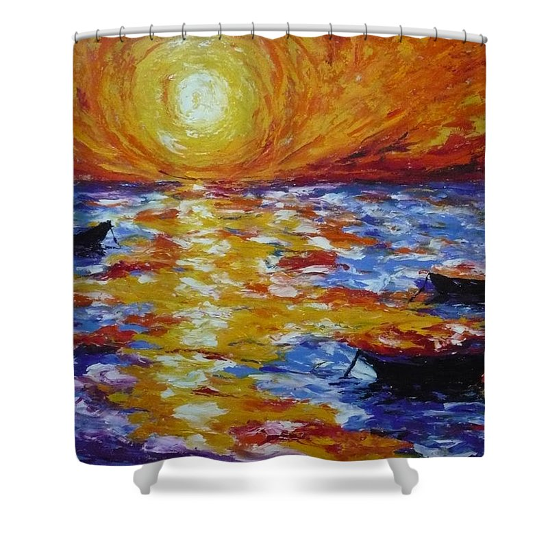 Landscape Shower Curtain featuring the painting Sunset With Three Boats by Ericka Herazo