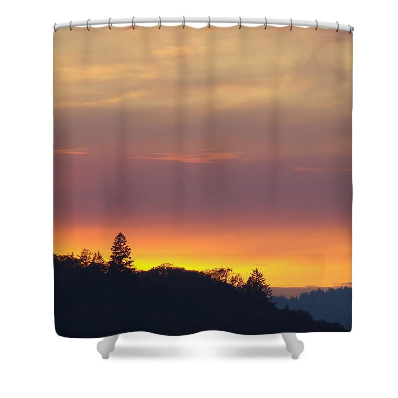 Sunset Shower Curtain featuring the photograph Sunset Yellow Orange Purple Sunset Giclee Art Prints Baslee Troutman by Baslee Troutman